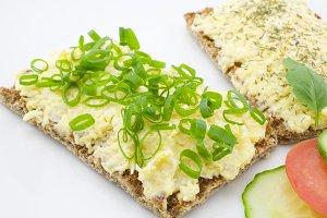 Cheese salad on crispbread