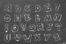 Cracked font on chalkboard