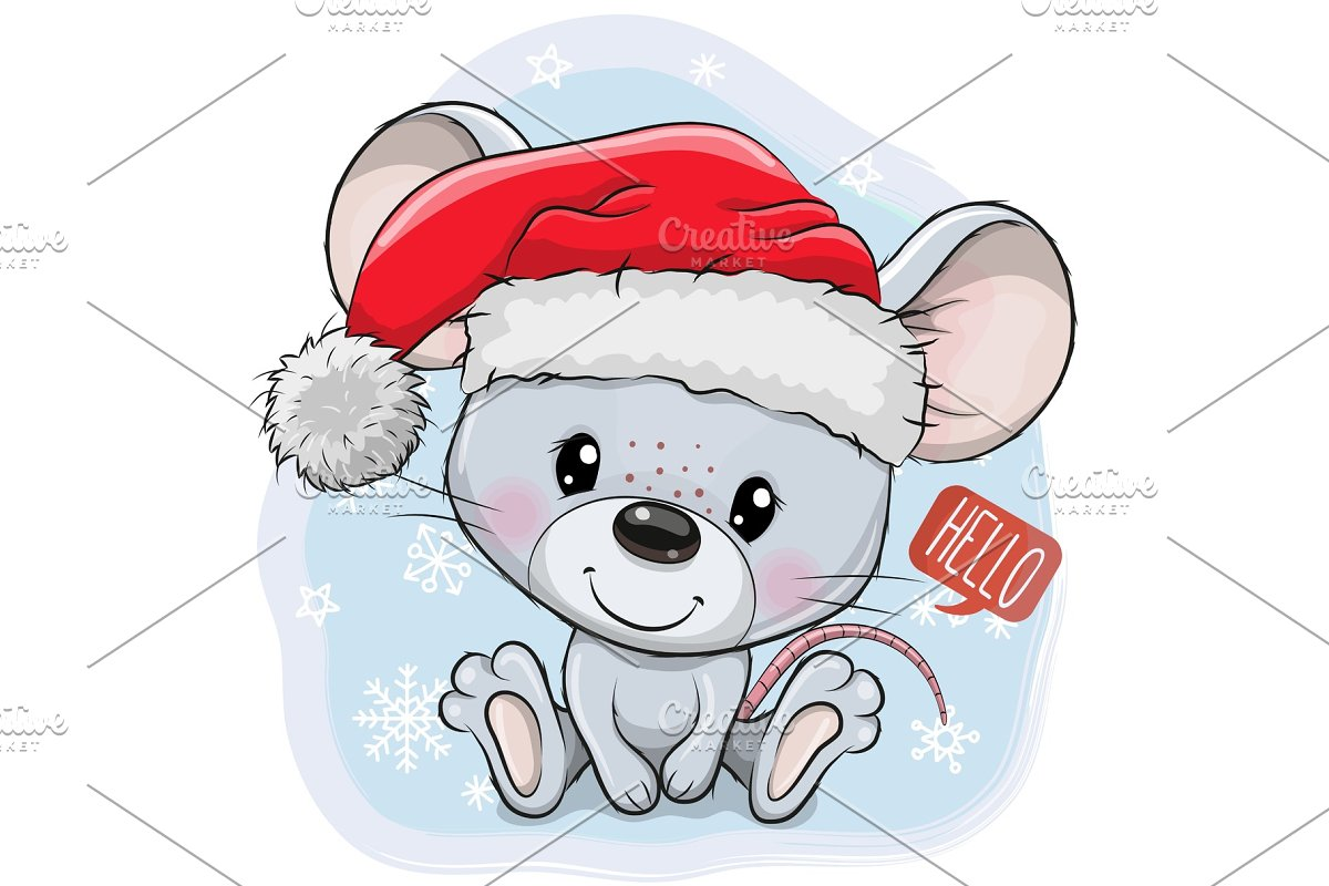 Cartoon Mouse In Santa Hat On A Blue