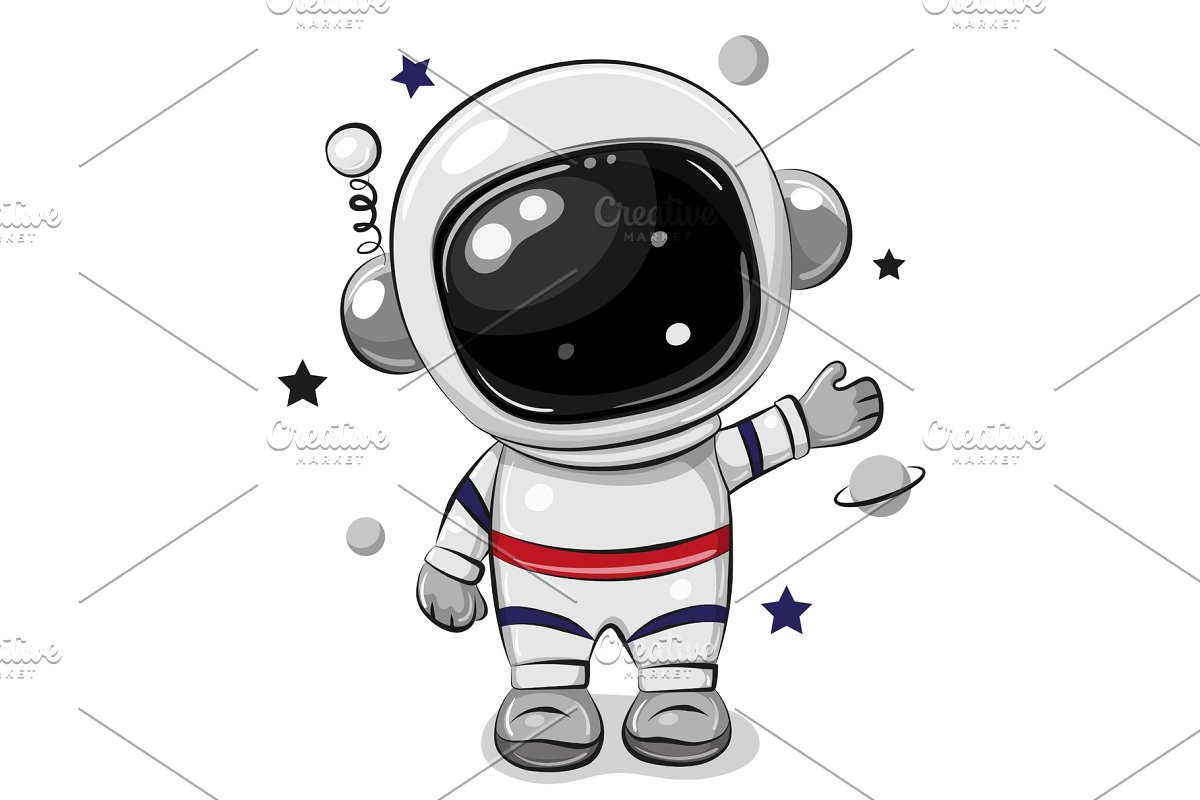 Cartoon Astronaut Isolated On A