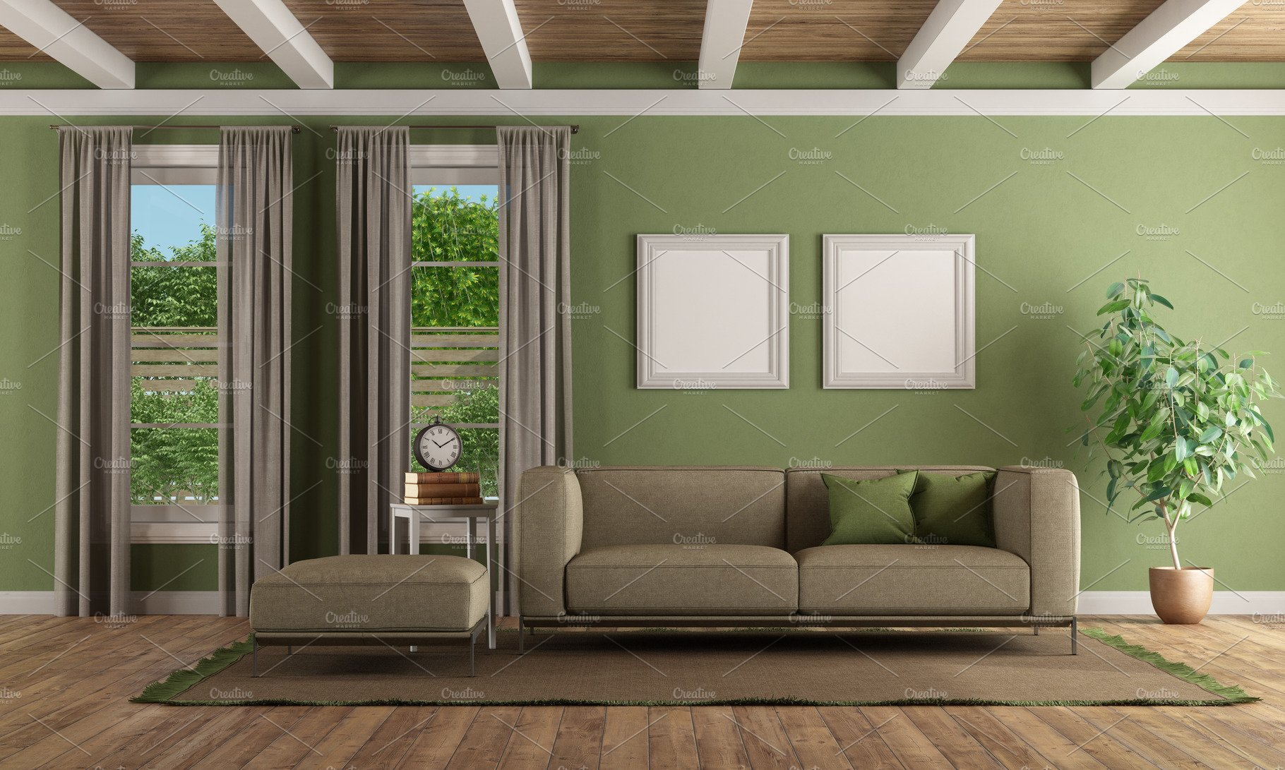 Green Living Room With Modern Sofa A High Quality Architecture Stock Photos Creative Market
