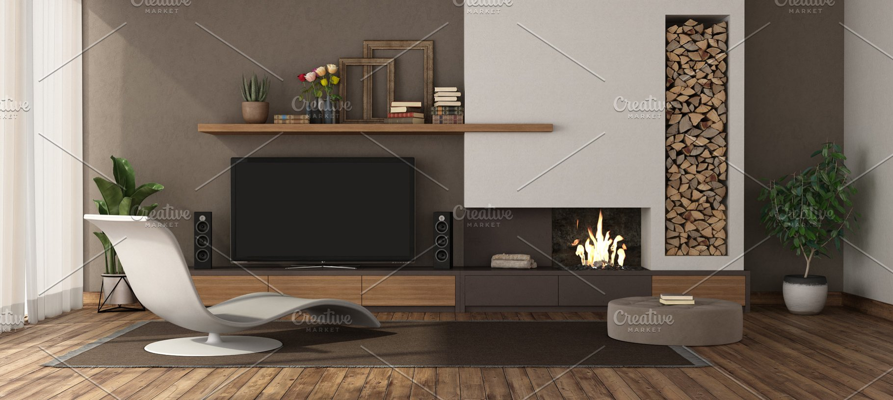 Modern living room with fireplace an