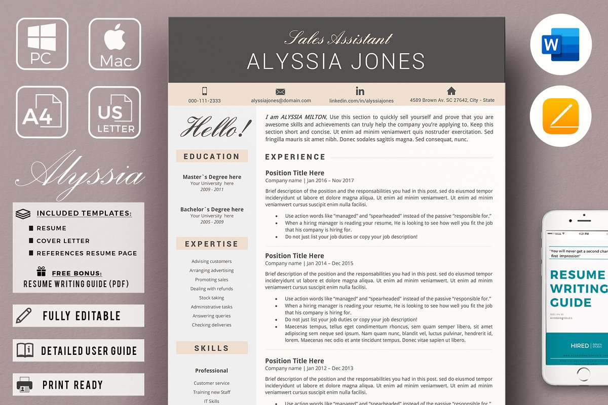 Sales Assistant Resume CV Template ~ Cover Letter Templates ...