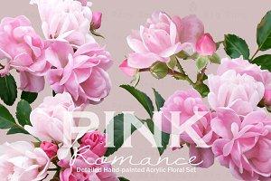 PINK Romance-Acrylic Floral Set