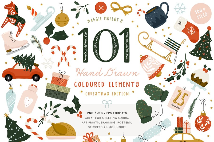 101 Festive Colour Elements EPS PNG