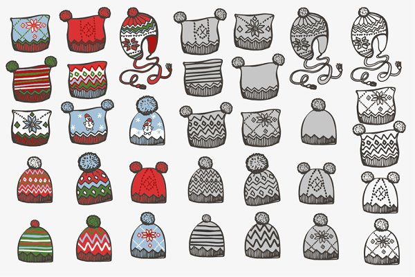 Knitted hat. Doodle hand drawn set