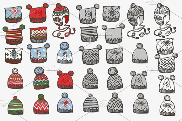 Knitted hat. Doodle hand drawn set - Illustrations