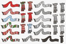 Knitted scarf. Doodle hand drawn set