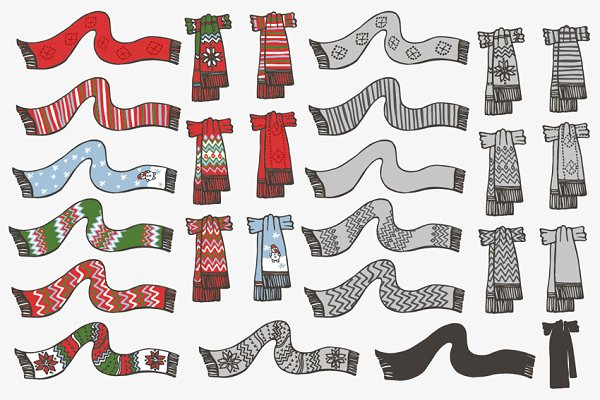 Knitted scarf. Doodle hand drawn se…
