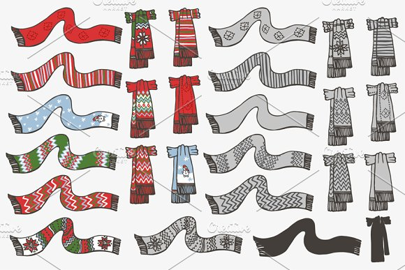 Knitted scarf. Doodle hand drawn set - Illustrations