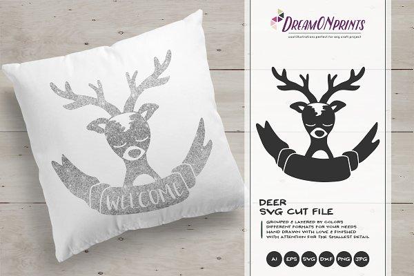 Deer Svg Cut File Reindeer Svg Pre Designed Photoshop Graphics Creative Market