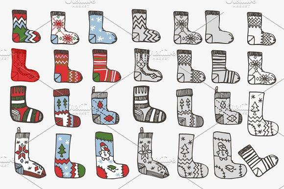 Knitted socks & stockings.Doodle set
