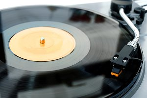 Record Player with Vinyl Playing