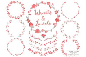 Coral and Grey Vector Flower Wreaths