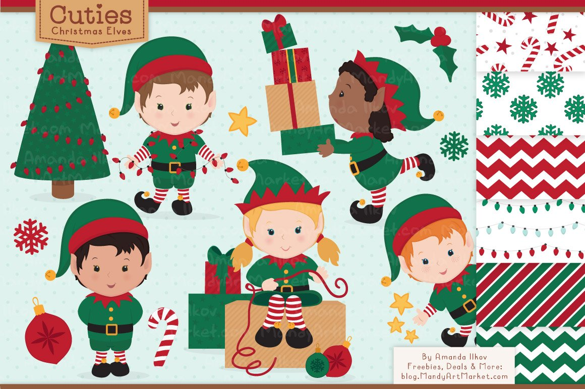 Cute Christmas Elves Patterns Illustrations Creative Market