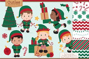 Cute Christmas Elves & Patterns