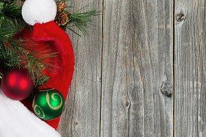 Traditional Christmas Items on Wood
