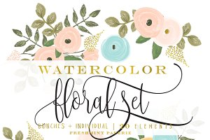 watercolor floral clipart set