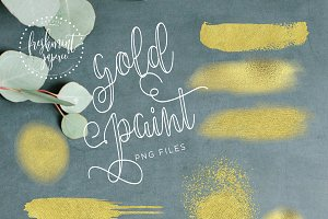 gold paint elements - brush strokes