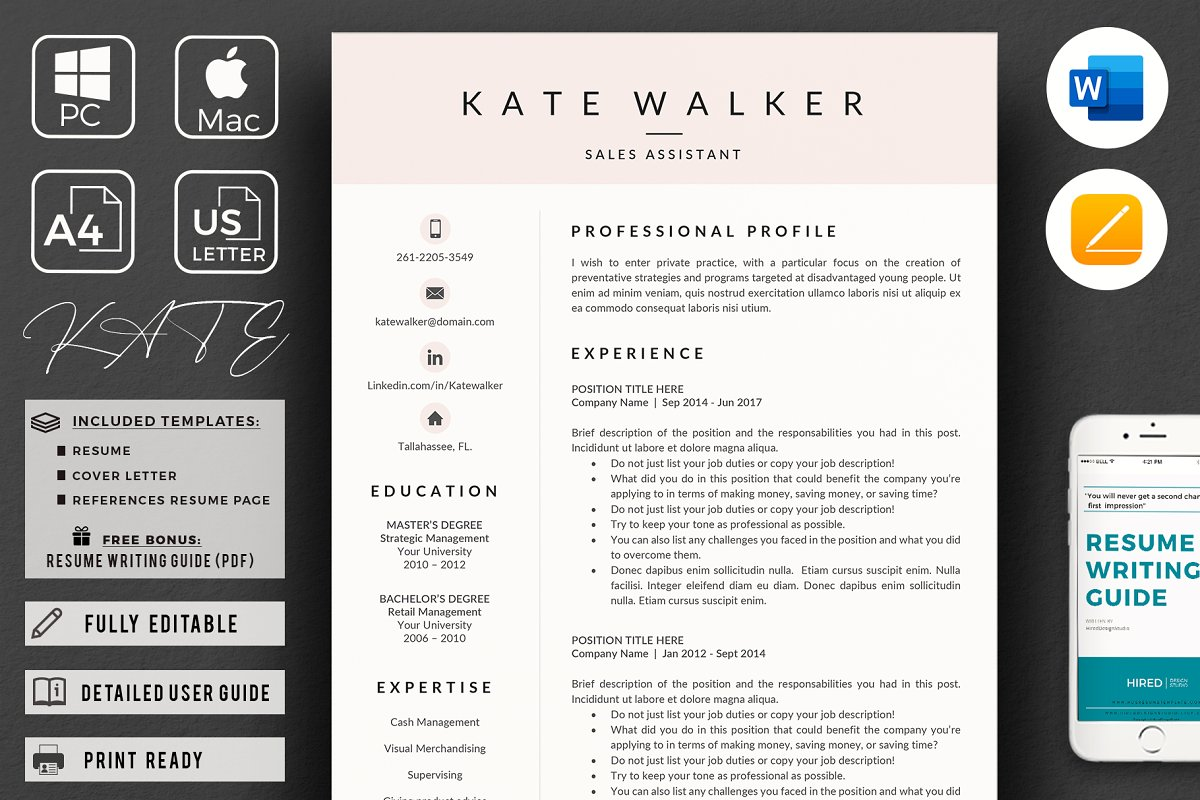 Sales Resume + Cover Letter format