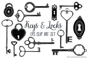 Keys and Locks Clip Art Vector EPS