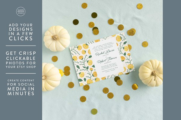 Fall Wedding Invitation Mockup