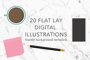 Digital Illustrations Flat Lay Set
