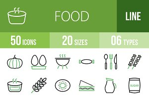 50 Food Green & Black Icons