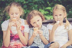 happy children with ice cream