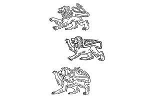 Vintage healdic lions set