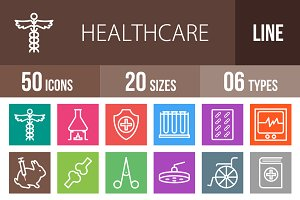 50 Healthcare Line Multicolor Icons