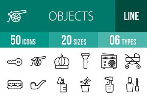 50 Objects Line Icons