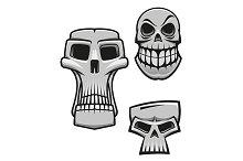 Monster and zombie skulls