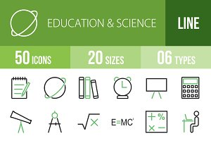 50 Education & Science Green & Black