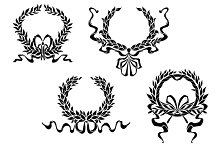 Heraldic laurel wreaths with ribbons
