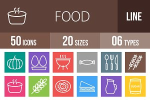 50 Food Line Multicolor Icons