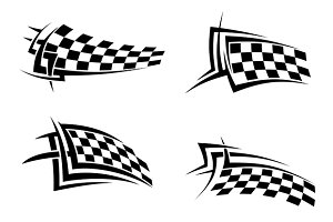 Tribal signs with checkered flags