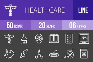 50 Healthcare Line Inverted Icons