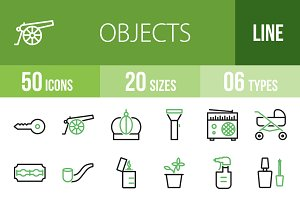50 Objects Green & Black Icons