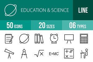 50 Education & Science Line Icons