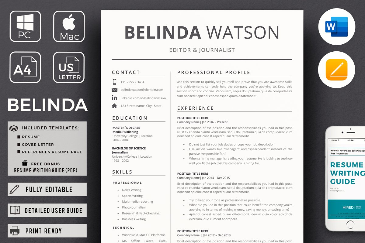 Professional Minimalist Resume, CV ~ Cover Letter Templates ...