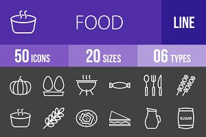 50 Food Line Inverted Icons