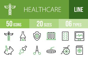 50 Healthcare Green & Black Icons