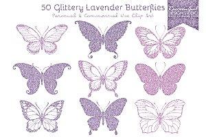 50 Glittery Lavender Butterflies