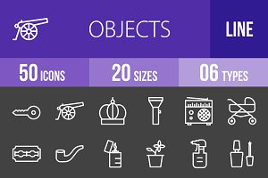 50 Objects Line Inverted Icons