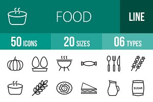 50 Food Line Icons