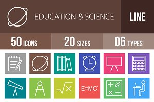 50 Education&Science Line Multicolor
