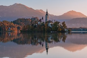 Lake Bled Church at Sunrise