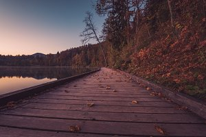 Wooden pier at lake Bled