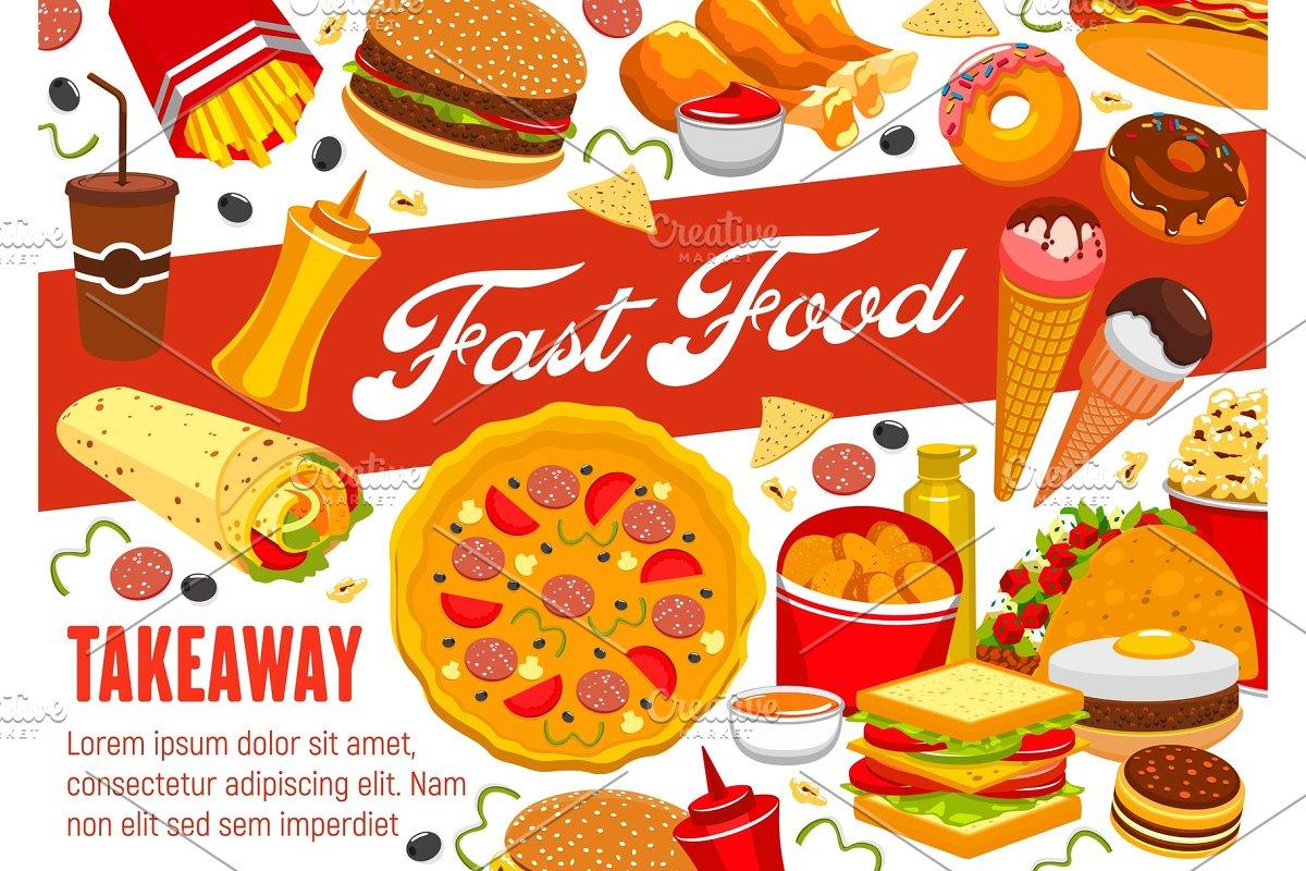 Fast food snacks, pizza